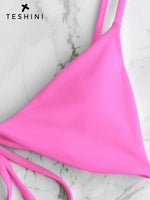 Hot Pink Plain Padded String Bikini Swimsuit