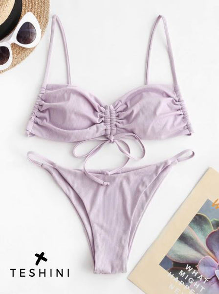 Light Purple Ribbed Clinched Bikini Swimwear