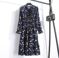 Navy Women Casual Autumn Dress Lady Korean Style Vintage Floral Printed Chiffon Shirt Dress Long Sleeve Bow Midi Summer Dress Vestido