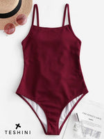 Red Wine Lace Up Ribbed One-piece Swimsuit