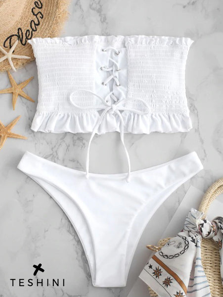 White Smocked Lace Up Ruffle Bikini Set