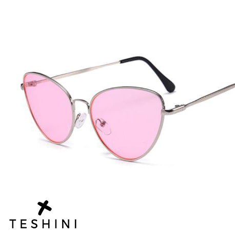 Silver Pink Cat Eye Retro Sunglasses