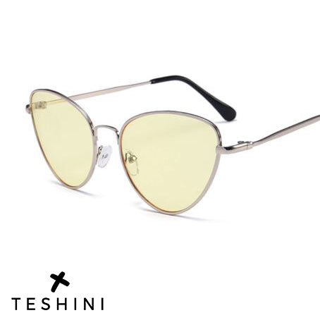 Silver Yellow Cat Eye Retro Sunglasses