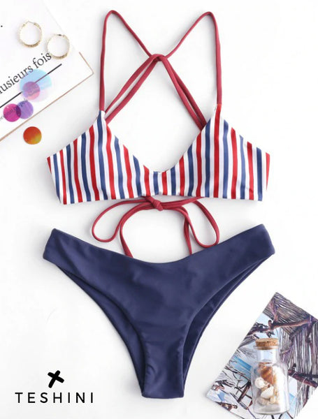 Strappy Striped Bikini Set