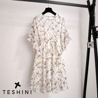 Floral Chiffon V-Neck Dress Casual