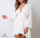 White Elegant Long Sleeve Dress