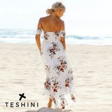 White Split Maxi Floral Backless Dress