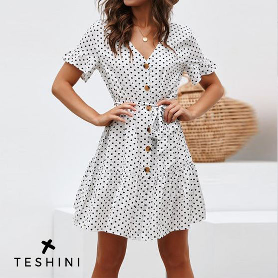 White Women Summer Beach Chiffon Dress Casual Short Sleeve Polka Dot Dress Boho Mini Party Dress Elegant V Neck Sundress Vestidos