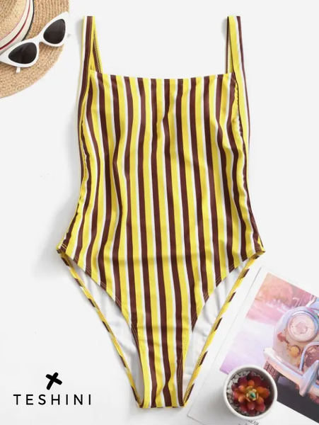 Straight Neckline Striped One-piece Swimsuit