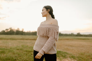 Off the Shoulder Fringe Sweater