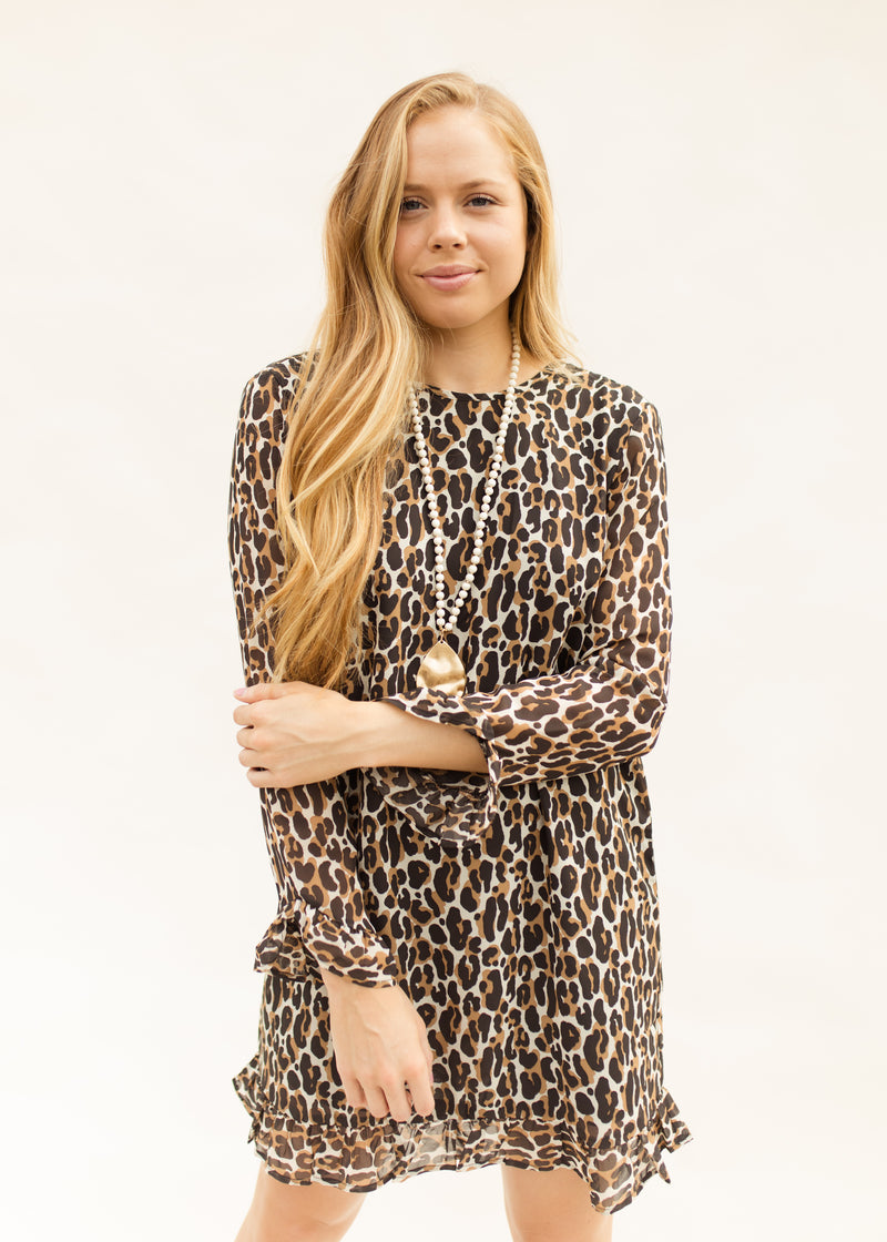 Romy Ruffle Dress In Cheetah