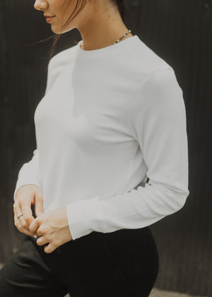 White Modal Interlock Pullover