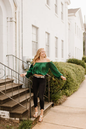 Green Off The Shoulder Blouse
