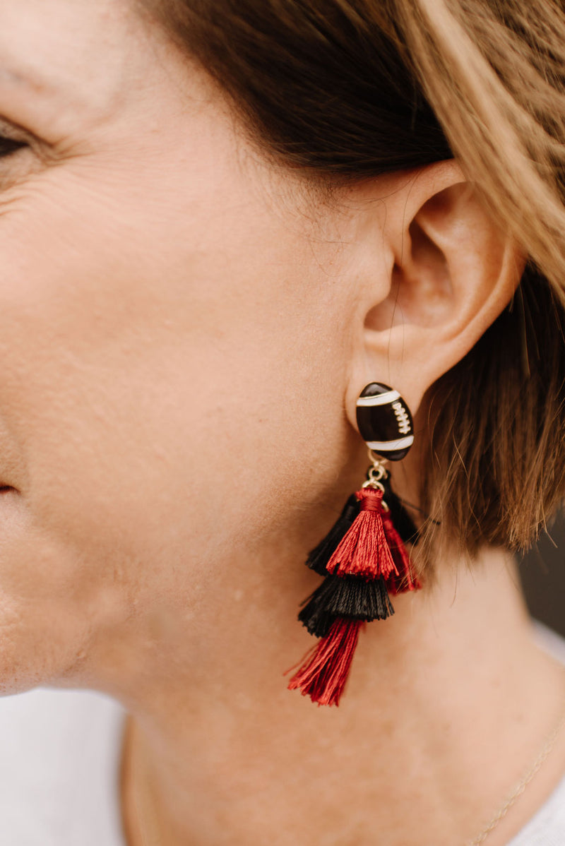 Burgundy & Black Football Tassel Earrings