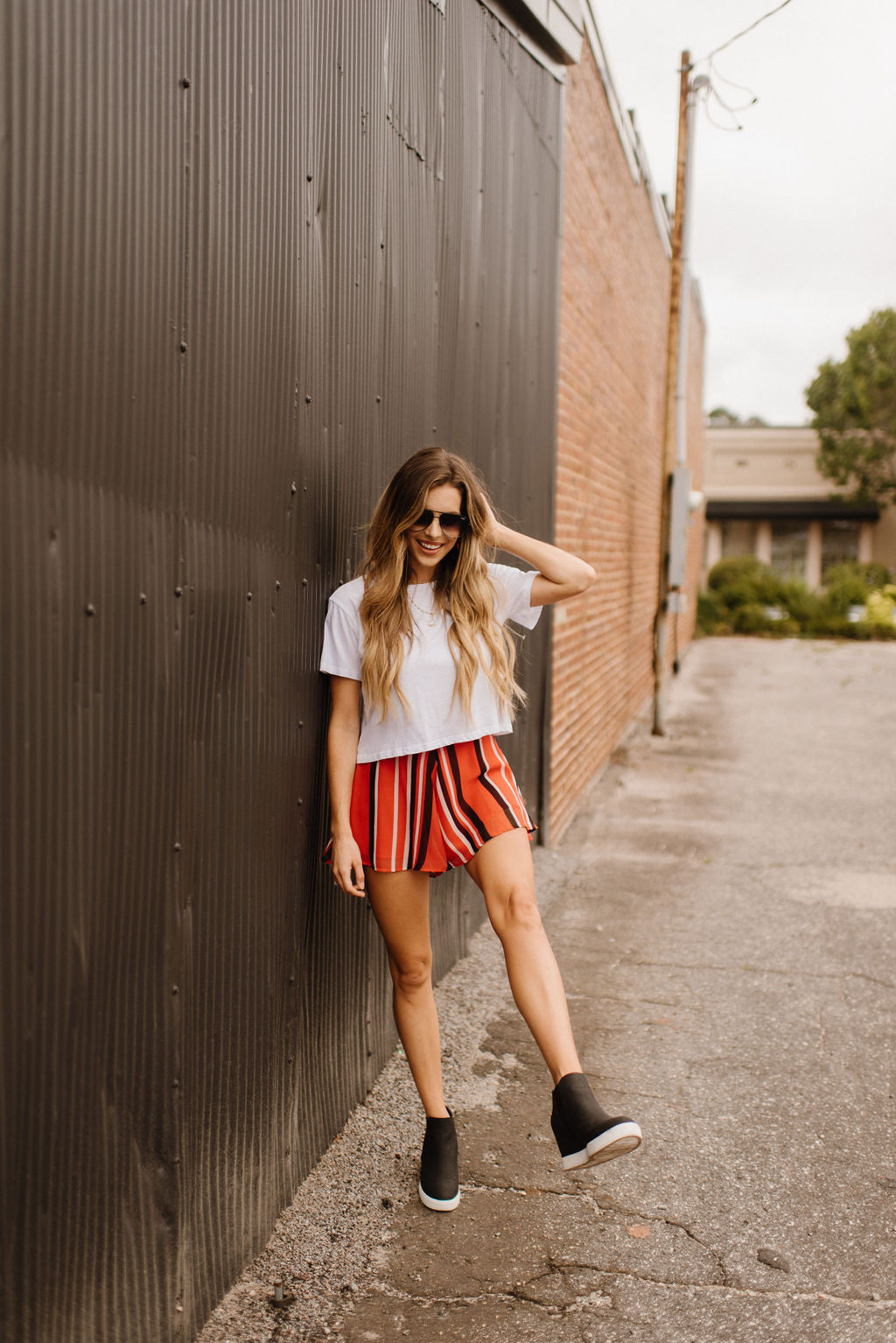 Red & Black Striped Swing Shorts