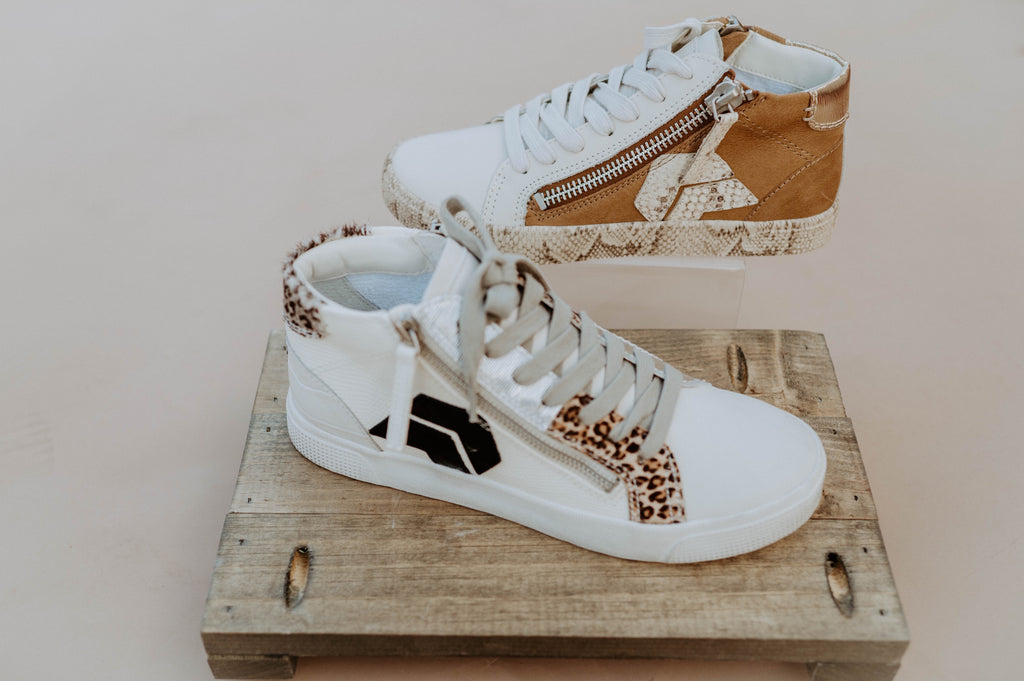 Zonya High Top Sneaker in Tan Multi