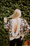 Leopard Open Back Sweater In Mocha
