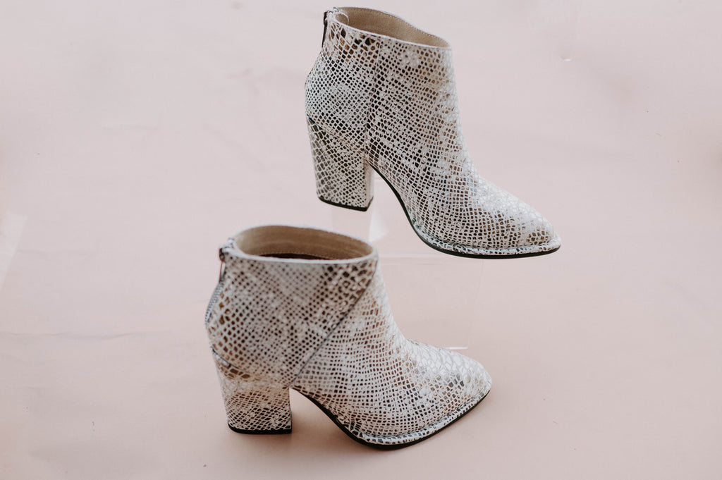 Pay Phone Snakeskin Booties