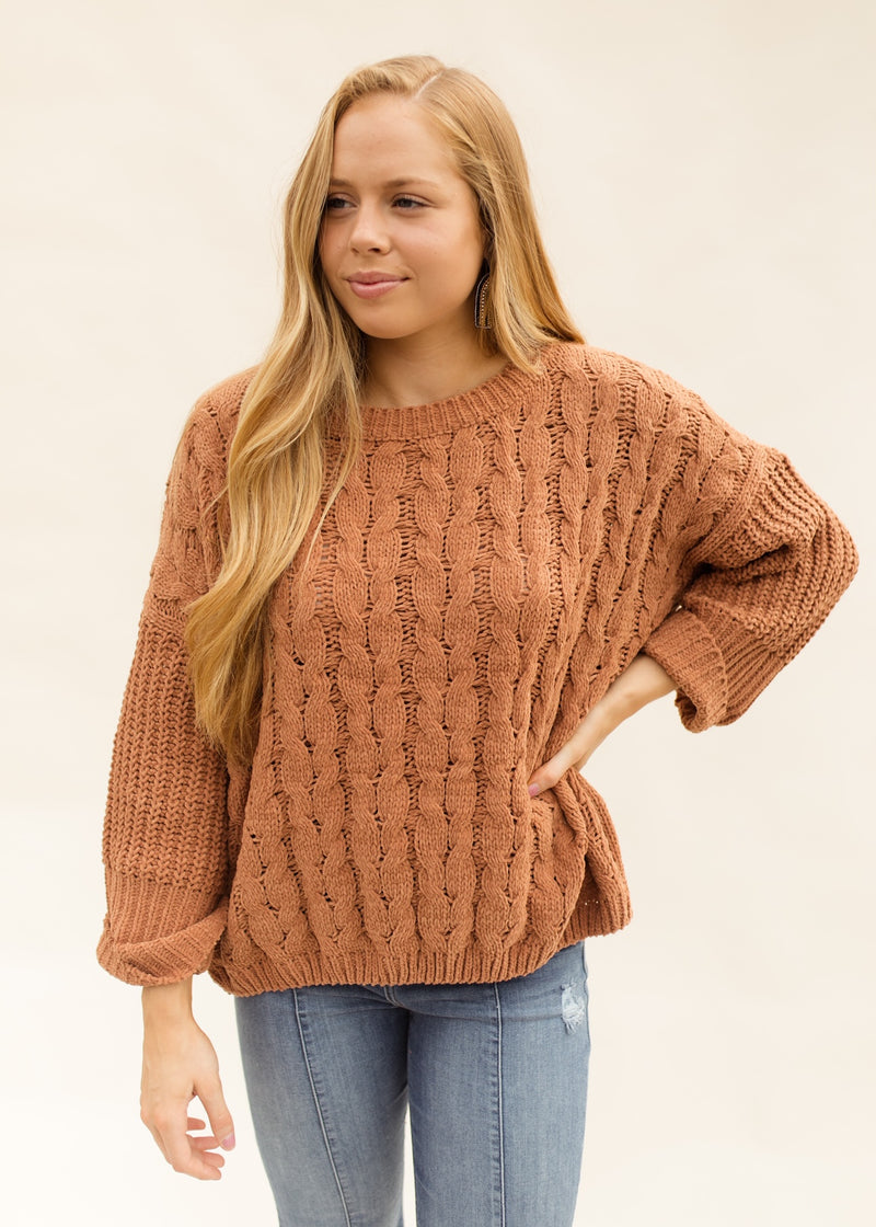 Hay Ride Sweater In Camel