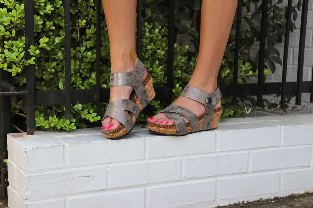 Rylee Pewter Strappy Wedge