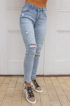 Light Washed Distressed Skinny Jeans