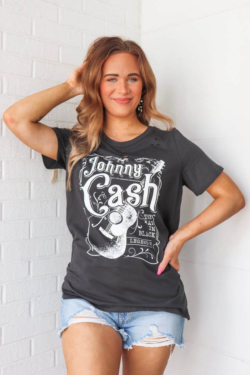 Johnny Cash Graphic Tee In Black