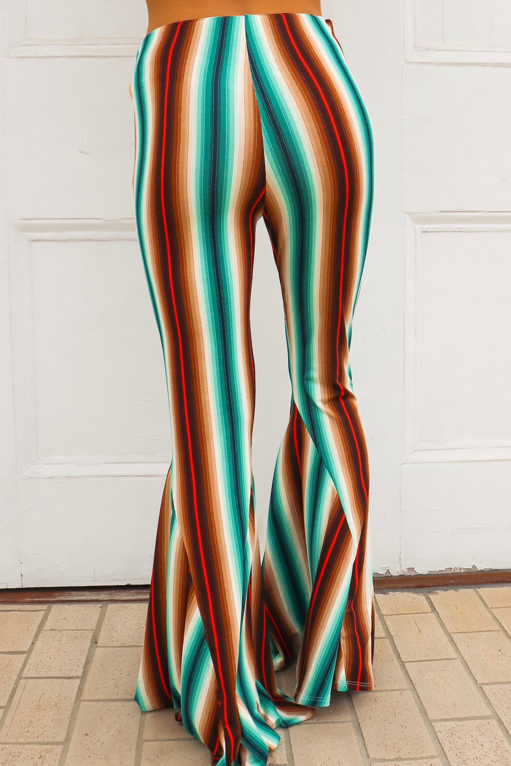 Savannah Jane Bell Bottoms In Turquoise Mocha
