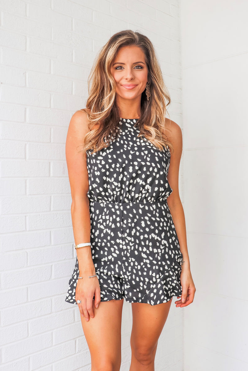 Polka Dot Romper with Strappy Open Back