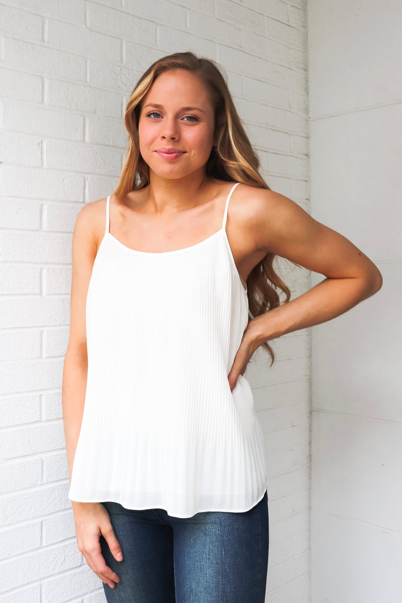 Off White Pleated Cami