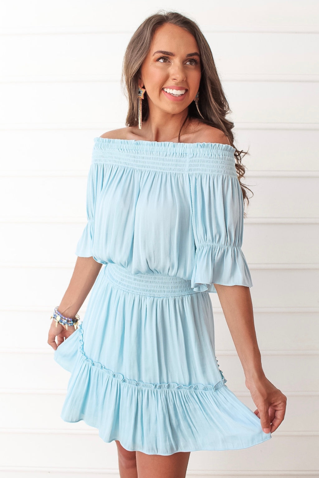 Blue Cool Off Shoulder Smocked Dress
