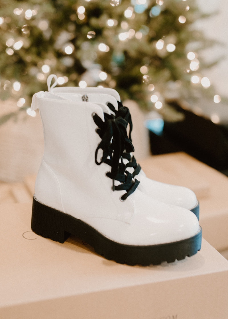 Mazzy White Lace-up Boots