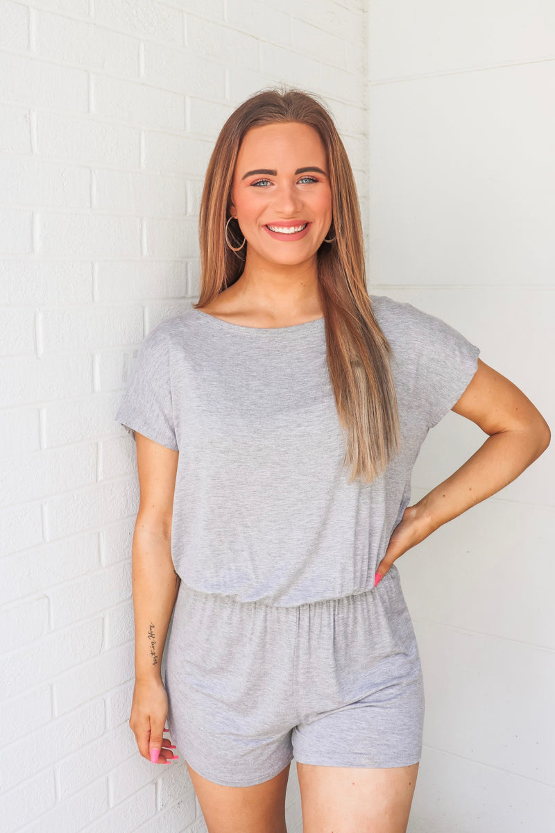 Heather Gray Knit Romper