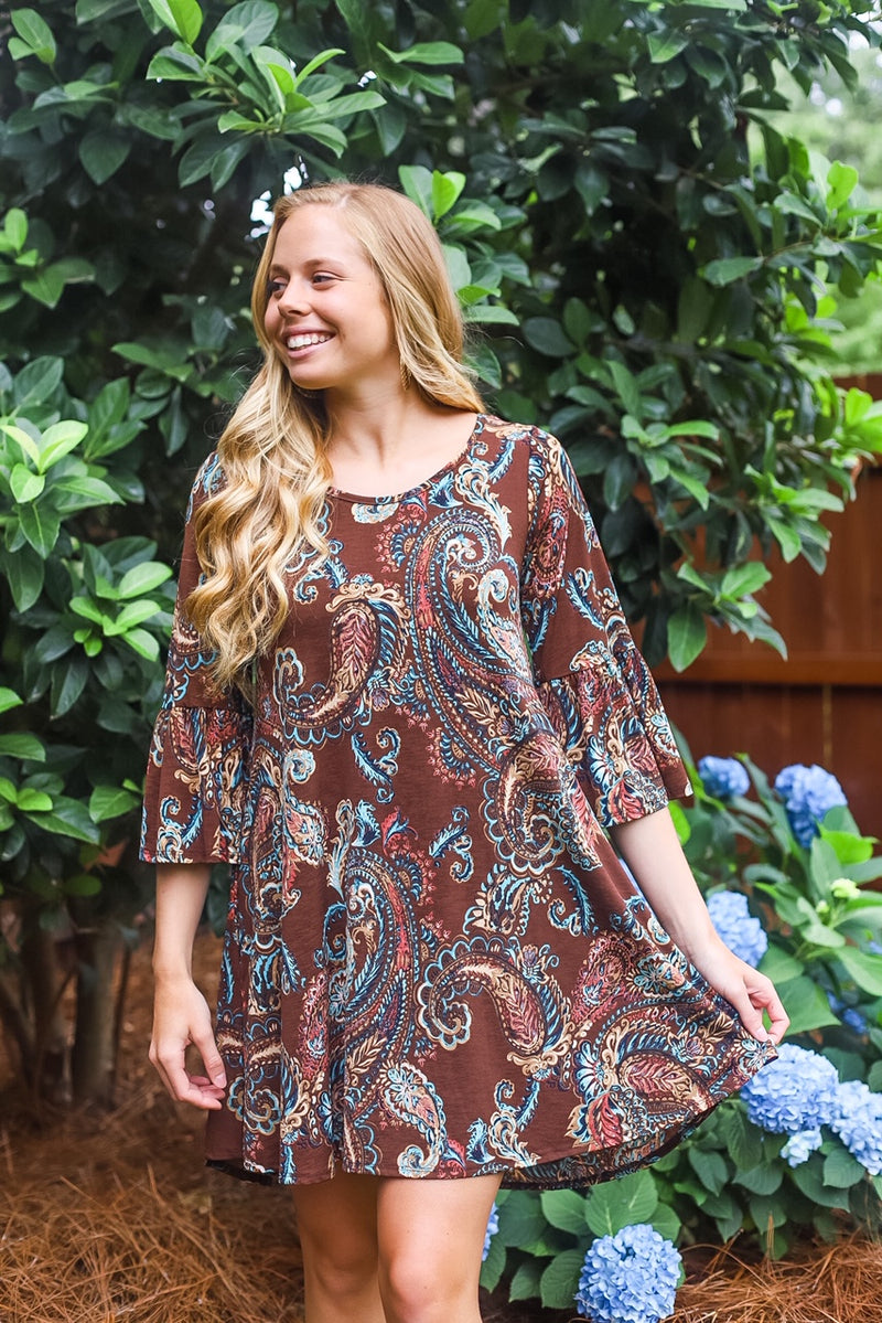 Brown/Peach Paisley Dress