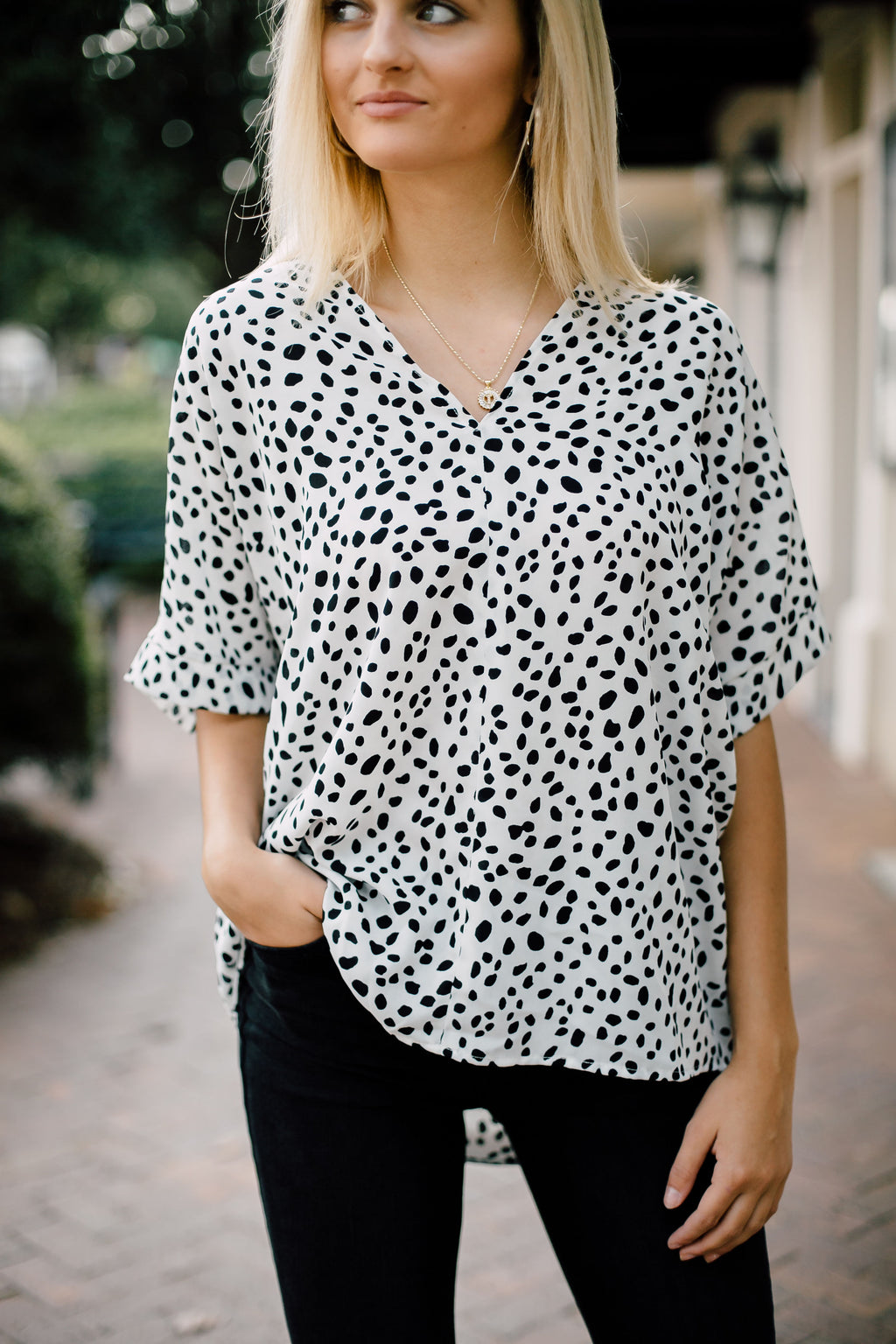 Annalee Cheetah Blouse In Off White