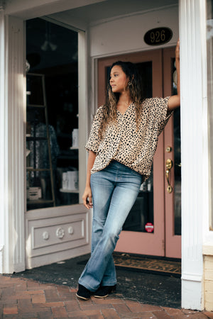 Annalee Cheetah Blouse In Taupe
