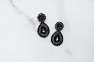 Black Beaded Disc & Teardrop Earrings