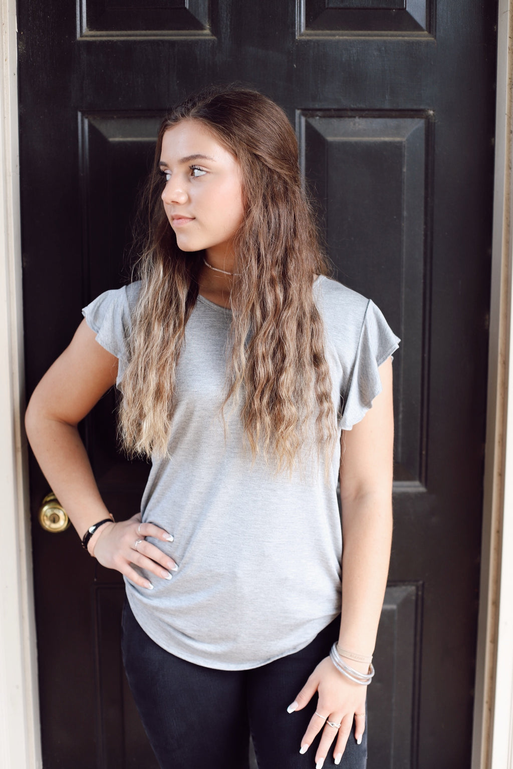 Count On Me Basic Top In Gray