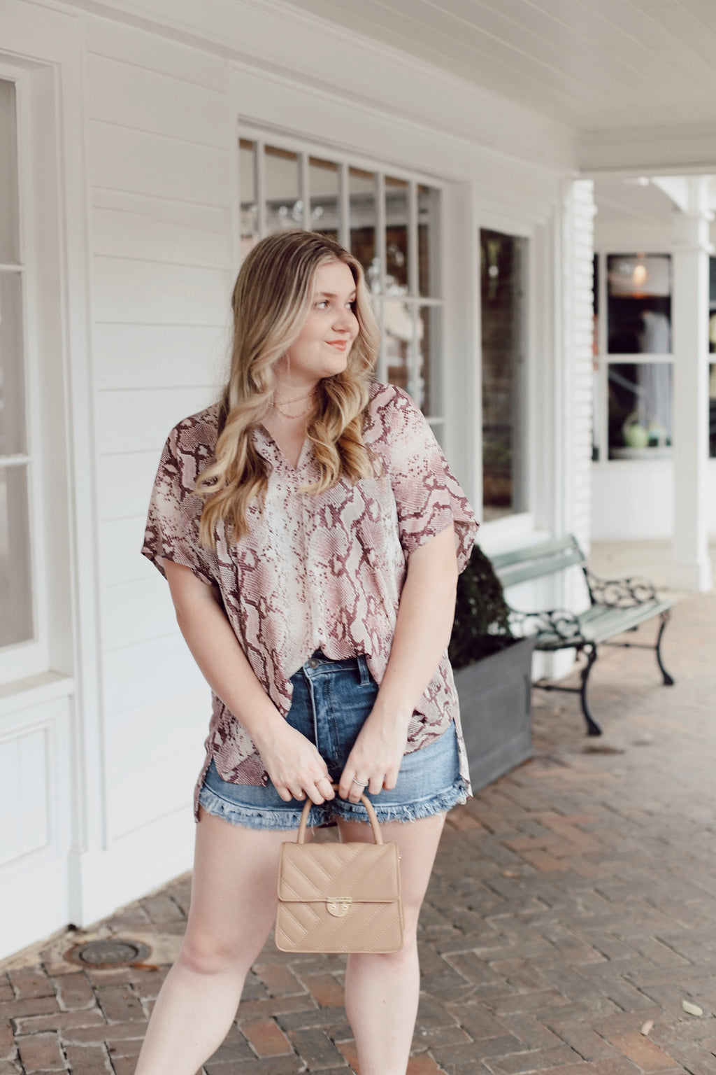 Dusty Lavender Snake Print Top