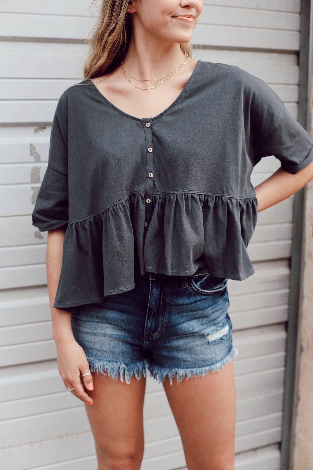 Charcoal Baby Doll Top