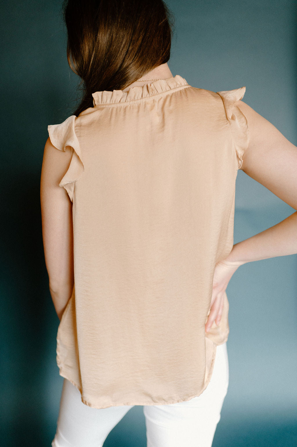 Roxy Ruffle Blouse in Taupe