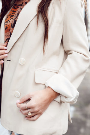 Business Woman Blazer in Taupe