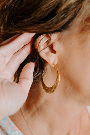 Gold Hammered Flat Hoops