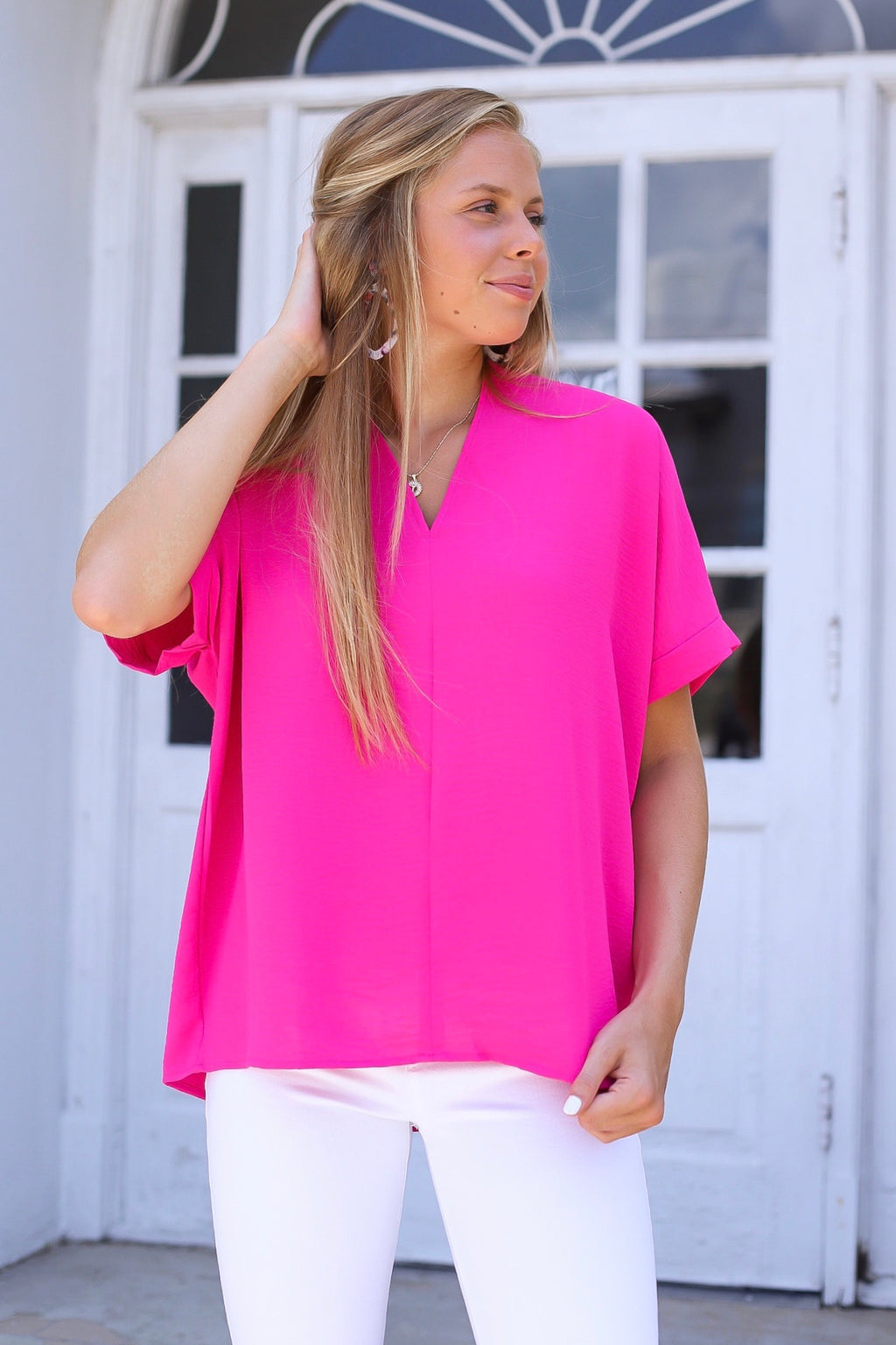 Sarah Beth Blouse In Hot Pink