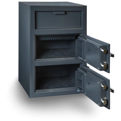 Hollon Safe FDD-3020CK Double Door Depository Safe, Money Safe, Key and Dial Lock