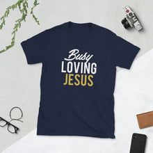"Load image into Gallery viewer, ""Busy Loving Jesus™"" Tee (Black/Navy)"