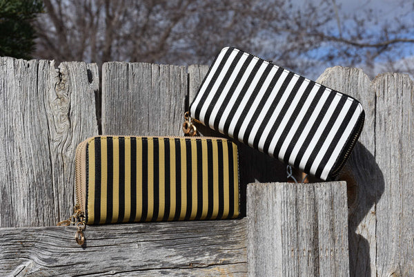 Fun Stripe Double Zip Wallets