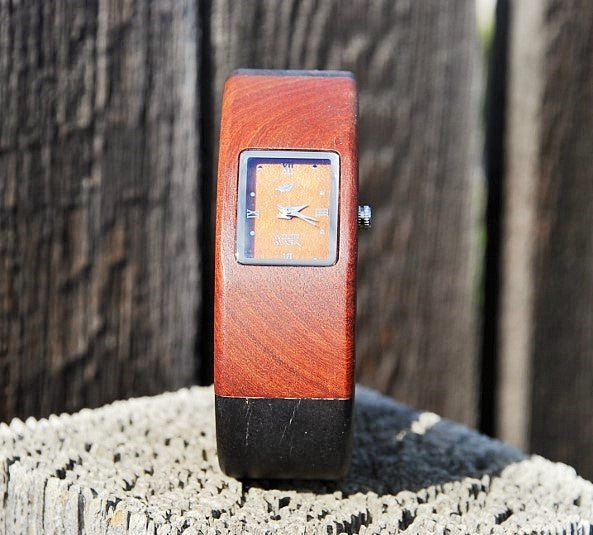 Ladies Two Tone All Wood Watch