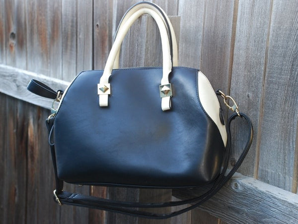Black & Cream Satchel Handbag