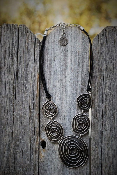 Circular Black Cord Necklace