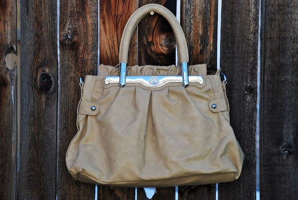 Simple Beige Satchel Handbag